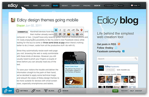 Edicy blog post editing view