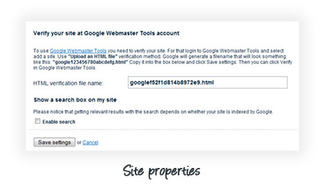 Voog site properties - verify your Google Webmaster Tools account